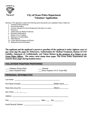 ocoee police department volunteer form