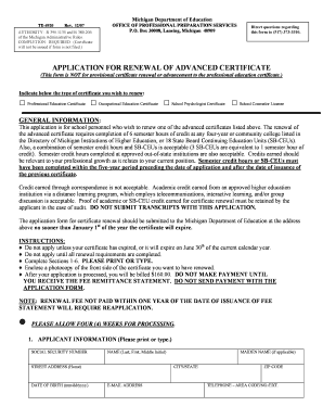 APPLICATION FOR RENEWAL OF ADVANCED CERTIFICATE - iammea