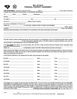 bill of sale of personal property forms
