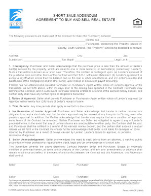sample of sc short sale contract form