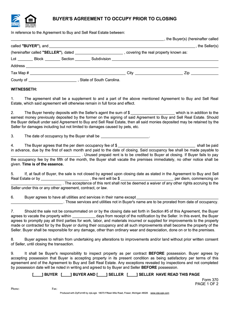 2008-2019 SC Form 370 Fill Online, Printable, Fillable
