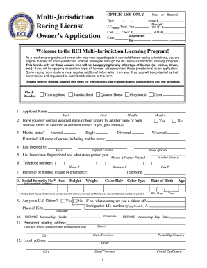 racing license application form