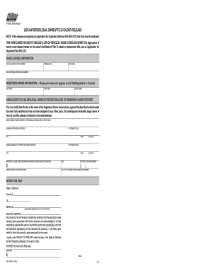 Lean Holder Release Form In Ca Fill Online Printable