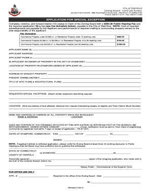 city of stamford zoning application fee schedule form