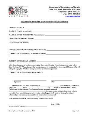 Grade Permit Transfer Form - aacounty