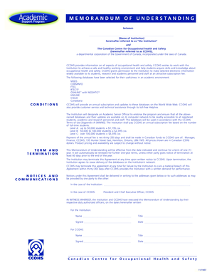 CCOHS: ASP - MoU and Order Form - ccohs