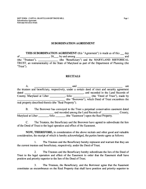 Maryland Subordination Agreement Form