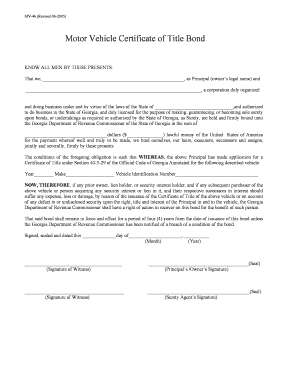 mv 46 certificate of title bond form