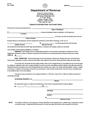 ga tobacco distributors tax stamp bond form