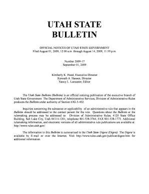 Utah State Bulletin, September 1, 2009, Vol. 2009, No. 17. OFFICIAL NOTICES OF UTAH STATE GOVERNMENT Filed August 01, 2009, 12 - rules utah