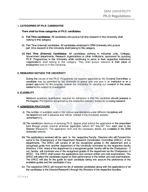 srm university phd regulations print form