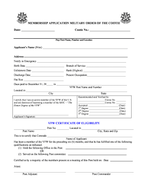 cootie military membership form