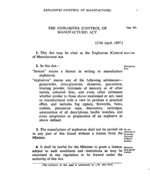 THE EXPLOSIVES (CONTROL OF MANUFACTURE) ACT 1. This ... - vertic