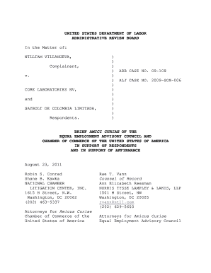 UNITED STATES DEPARTMENT OF LABOR ADMINISTRATIVE REVIEW BOARD In the Matter of WILLIAM VILLANUEVA, Complainant, v - eeac
