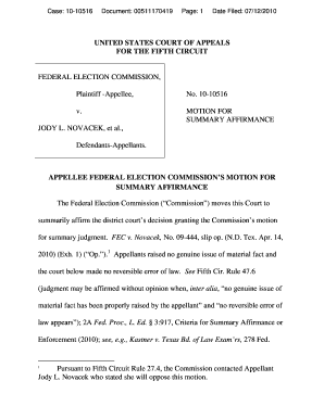 motion for summary affirmance ninth circuit form