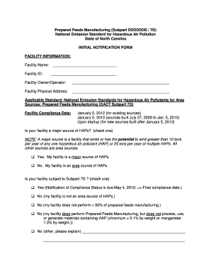 prepared feeds manufacturing subpart ddddddd 7dnational emission standard for hazardous air pollutionstate of north carolinainitial notification form