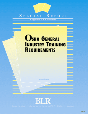 osha general industry training requirements special report form