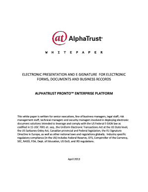 ELECTRONIC PRESENTATION AND E-SIGNATURE - AlphaTrust .com