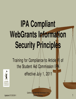 IPA Compliant WebGrants Information Security Principles - csac ca