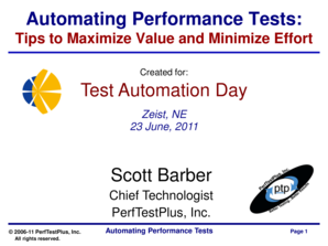Automating Performance Tests - PerfTestPlus