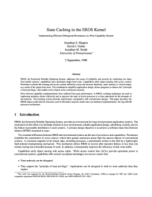 State Caching in the EROS Kernel - eros-os
