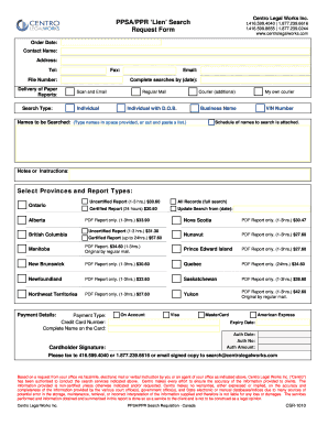 PPSA/PPR 'Lien' Search Request Form