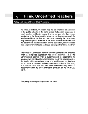 Hiring Uncertified Teachers 5 - eed alaska