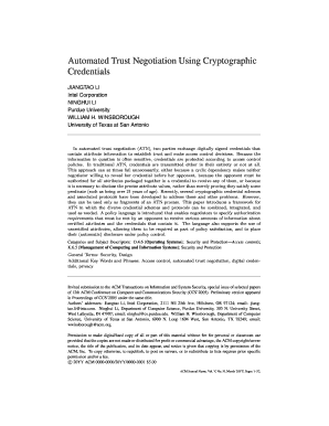automated trust negotiation using cryptographic credentials form