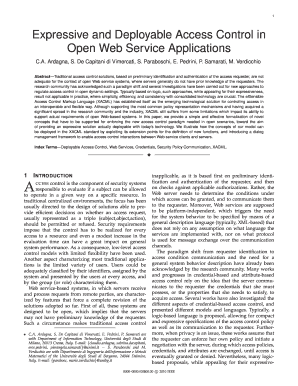 Expressive and Deployable Access Control in Open Web Service ... - spdp dti unimi