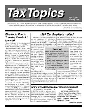 TaxTopics - Louisiana Department of Revenue - rev louisiana
