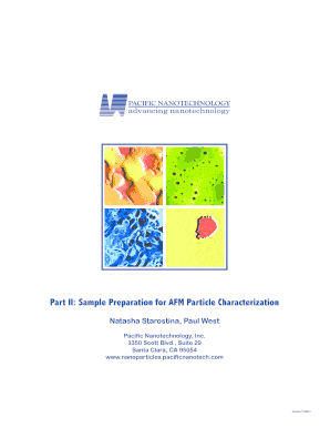 sample preparation for afm particle characterization; pacific nanotechnology form