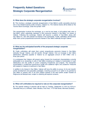 Frequently Asked Questions Strategic Corporate Reorganization