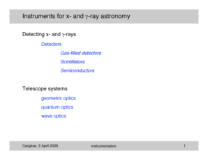 Instruments for x- and -ray astronomy - asd gsfc nasa