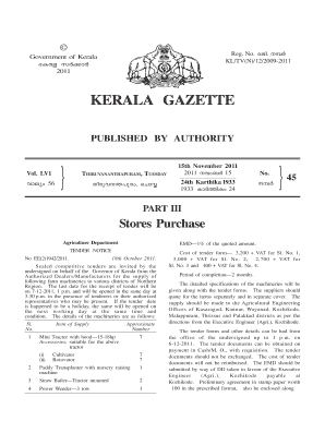 e gazette kerala form