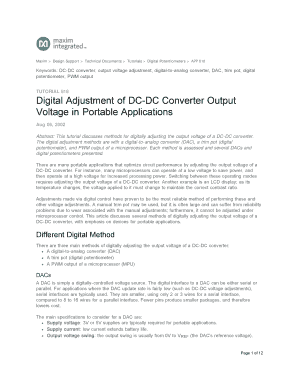 digital adjustment of dc dc converter form