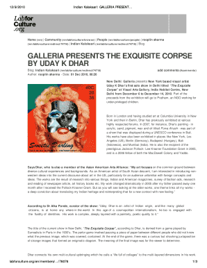 GALLERIA PRESENTS THE EXQUISITE CORPSE BY UDAY K DHAR