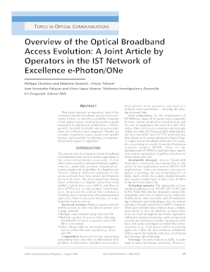 Overview of the Optical Broadband Access Evolution - JC Broadband
