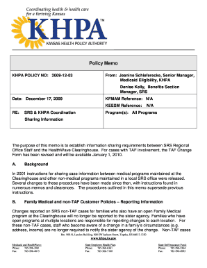 khpa policy memo jeanine schieferecke form