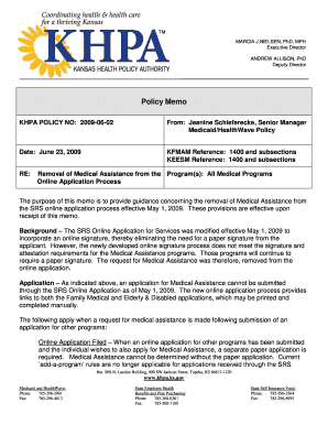 khpa policy memo form