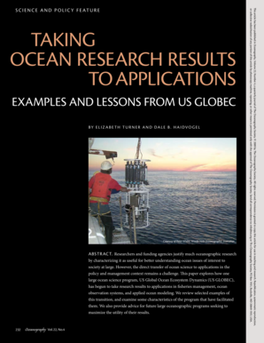 TakiNg oceaN reSearch reSultS to aPPlicatioNS - tos