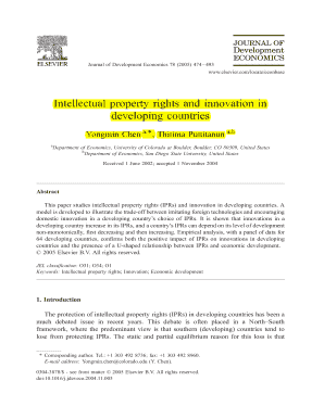 Intellectual property rights and innovation in developing countries - in953 kelon