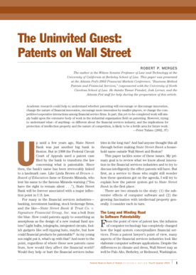 The Uninvited Guest: Patents on Wall Street - frbatlanta