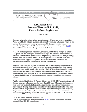 RSC Policy Brief : Issues of Note on H.R. 1249, Patent Reform ... - rsc jordan house