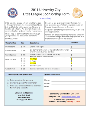 2011 University City Little League Sponsorship Form - ucll