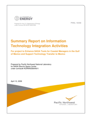 Summary Report on Information Technology Integration Activities - pnl