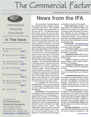 News from the IFA - factoring