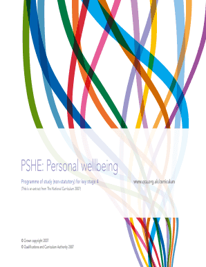 PSHE: Personal wellbeing