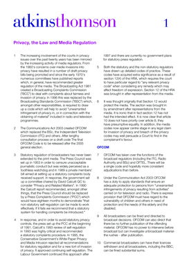 Privacy , the Law and Media Regulation - Atkins Thomson
