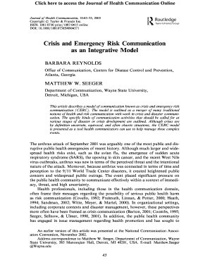 Crisis and Emergency Risk Communication as an Integrative Model
