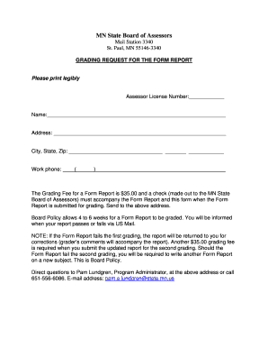 Request for Form Report Grading - mnmaao